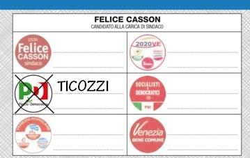 come si vota alle elezioni comune di Venezia 31 maggio 2015 vota Paolo Ticozzi consigliere comunale PD e Felice Casson sindaco