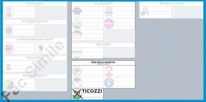 FAc simile scheda elettorale elezioni amministrative comunali Venezia 2020, per votare Paolo Ticozzi in consiglio comunale metti una X sul simbolo del PD (partito democratico) e scrivi a fianco Ticozzi, così voterai automaticamente Pier Paolo Baretta come sindaco di Venezia